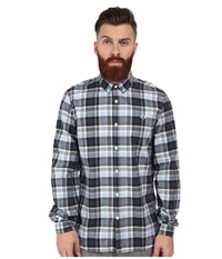 Fred Perry Engineered Polka Dot Check Shirt Navy Men's Long Sleeve Button Up