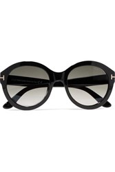 Tom Ford Kelly Round Frame Acetate Sunglasses Black