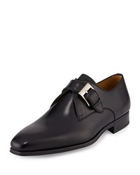 Magnanni For Neiman Marcus Buckle Strap Leather Loafer Black