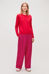 Cos Turn Up Wool Trousers Pink