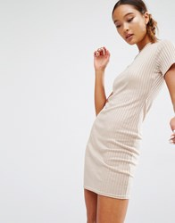 Daisy Street Fitted T Shirt Dress In Rib Nude