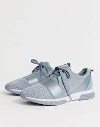 Ted Baker Grey Suede Sporty Strap Detail Trainers