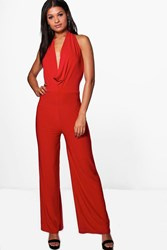Boohoo Cowl Neck Jumpsuit Red