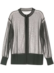 Kuho Sheer Zip Front Cardigan Green