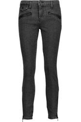 Current Elliott The Zip Moto Mid Rise Skinny Jeans Anthracite