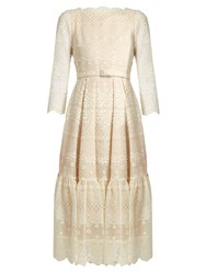 Erdem Cherlyn Floral Embroidered Tulle Dress Ivory