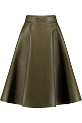 Goen J Flared Faux Leather Skirt Army Green