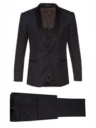 Dolce And Gabbana Shawl Collar Three Piece Jacquard Tuxedo Navy