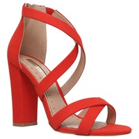 Miss Kg Faun Cross Strap Block Heeled Sandals Red