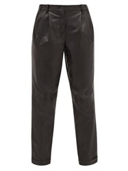 Nili Lotan Montana Pleated Leather Trousers Black