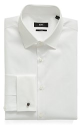 Boss Men's Big And Tall Trim Fit Solid French Cuff Tuxedo Shirt