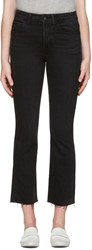 Helmut Lang Black High Rise Crop Raw Jeans