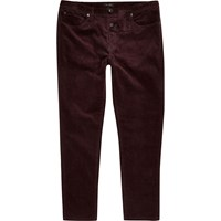 River Island Mensred Skinny Corduroy Chino Trousers