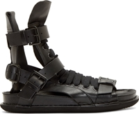 Ad Ann Demeulemeester Black Leather Gladiator Sandals