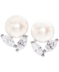 Arabella Cultured Freshwater Pearl 8Mm And Swarovski Zirconia Stud Earrings In Sterling Silver White