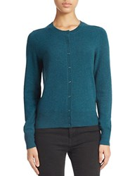 Lord And Taylor Basic Crewneck Cashmere Cardigan Teal Heather