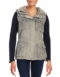 Design Lab Lord And Taylor Sherpa Lined Cargo Vest Gunmetal