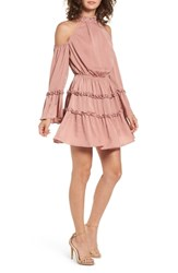 The Fifth Label Banjo Ruffle Cold Shoulder Dress Dusty Blush