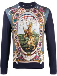 Dolce And Gabbana Dg King Knitted Sweater Blue