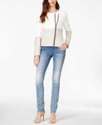 Inc International Concepts Colorblocked Faux Leather Moto Jacket Only At Macy's
