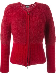Emporio Armani Contrasted Hem And Cuff Zipped Up Cardigan