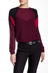 L.A.M.B. Beaded Colorblock Silk Blouse Red