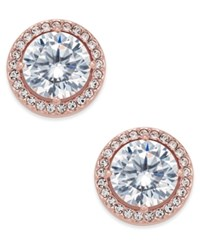 Danori Rose Gold Tone Crystal And Pave Round Stud Earrings