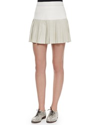 Pam And Gela Pleated Combo Mini Skirt Ivory