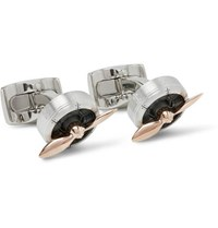 Deakin And Francis Sopwith Propeller Aluminium Rose Gold Cufflinks Silver