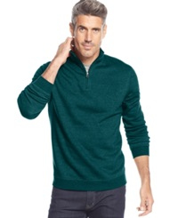 John Ashford Big And Tall Solid Quarter Zip Pullover Tapestry Teal