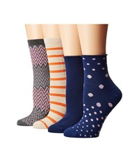 Richer Poorer Mixed Assorted 4 Pack Charcoal Oatmeal Navy Women's Crew Cut Socks Shoes Multi