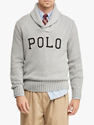 Ralph Lauren Polo Cotton Shawl Collar Sweater Andover Grey Heather