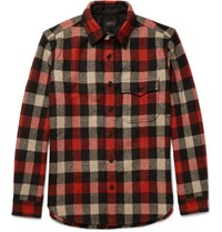 J.Crew Plaid Wool Blend Overshirt Red
