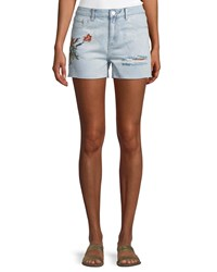 Dex Embroidered Denim Shorts Bleemb
