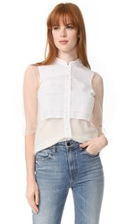 Red Valentino Tulle Ruffle Blouse Latte