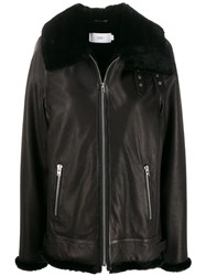 Closed Faux Fur Trim Leather Jacket 60