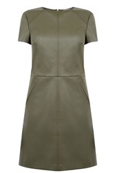Oasis Faux Leather Shift Dress Khaki