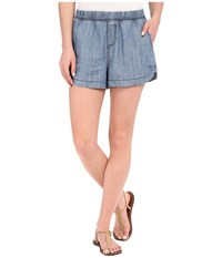 Michael Stars Linen Denim Tencel Shorts Medium Wash Women's Shorts Navy