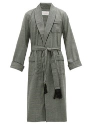 Derek Rose Lincoln Houndstooth Check Wool Robe Light Grey