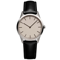 Uniform Wares C35 Wristwatch Polished Steel And Black Leather