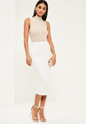 Missguided White Jersey Longline Midi Skirt