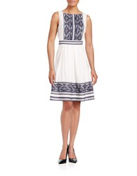 Taylor Pleated Fit And Flare Dress White Navy