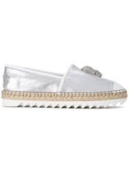 Philipp Plein Embellished Skull Espadrilles Women Raffia Leather Rubber 40 Metallic