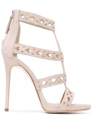 Giuseppe Zanotti Design Laser Cut Caged Sandals Women Leather Suede 38 Nude Neutrals