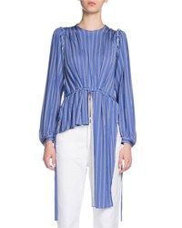 Balenciaga Asymmetric Long Sleeve Striped Blouson Top Blue White Blue White