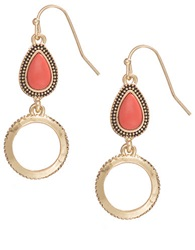 T And C Theodora And Callum Teardrop Stone Drop Earrings Red Gold