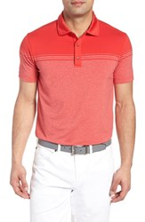 Bobby Jones R18 Tech Torque Stripe Golf Polo Cantonese Red