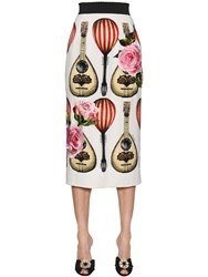 Dolce And Gabbana Printed Cady Pencil Skirt