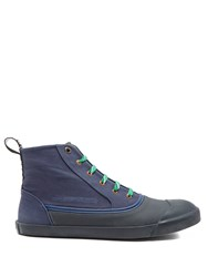 Lanvin Rubber And Canvas High Top Trainers Blue Multi