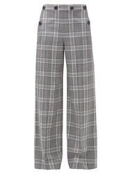 Roland Mouret Palmetto Checked Wool Wide Leg Trousers Blue Multi